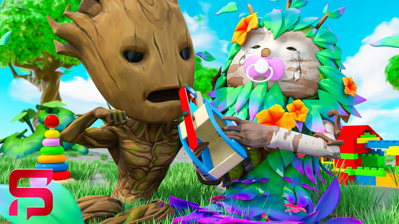 BABY GROOT Vs HIS SISTER... PLANT WARS.. ( Fortnite Short)