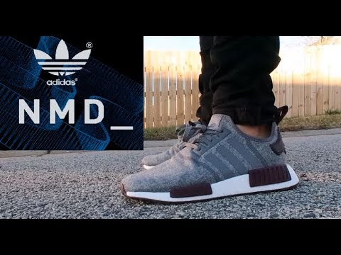 adidas Originals NMD Boost Maroon Wool Exclusive Sneaker On Feet Review