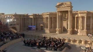 Russian orchestra plays concert in ruins of Palmyra