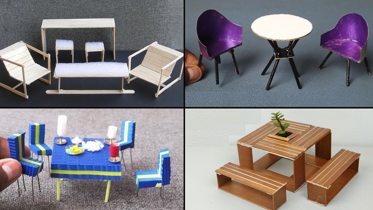 Furniture miniature Popsicle Easy Miniature Furniture Table Chairs 3 Diy Crafts Ideas Youtube Easy Miniature Furniture Table Chairs 3 Diy Crafts Ideas