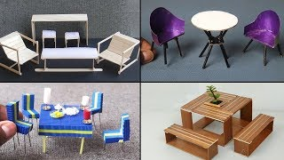 5 Easy Miniature Furniture | Table u0026 Chairs #3 - DIY u0026 Crafts ideas