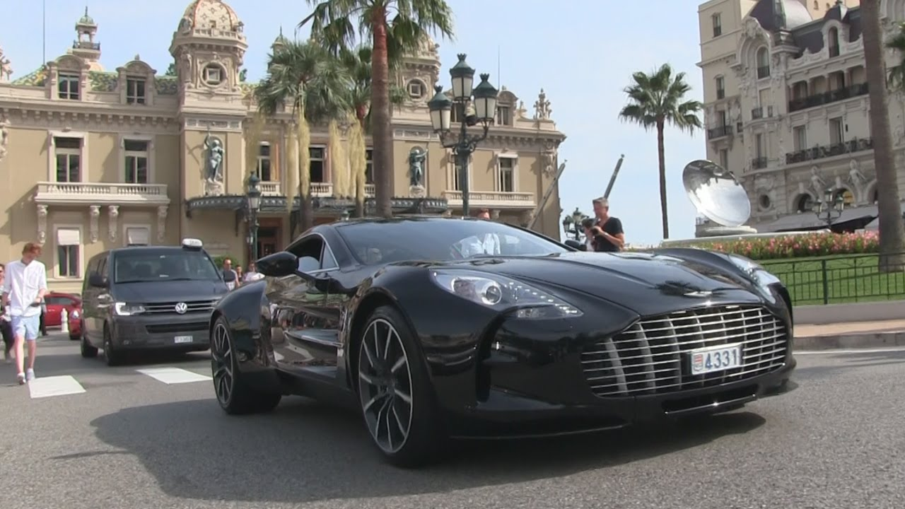 aston martin one77 driving at place du casino in monaco youtube. Black Bedroom Furniture Sets. Home Design Ideas