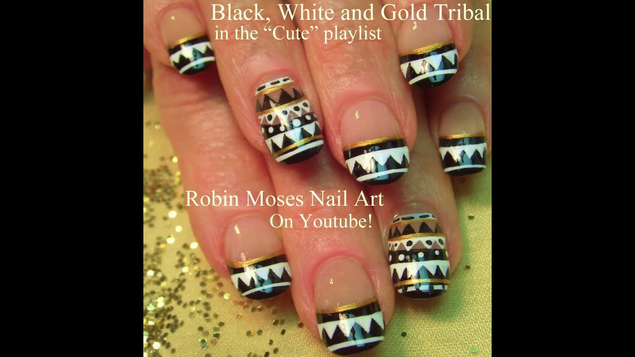 Nail Art Tutorial | DIY Easy Tribal Nails | Black and White Nail ...