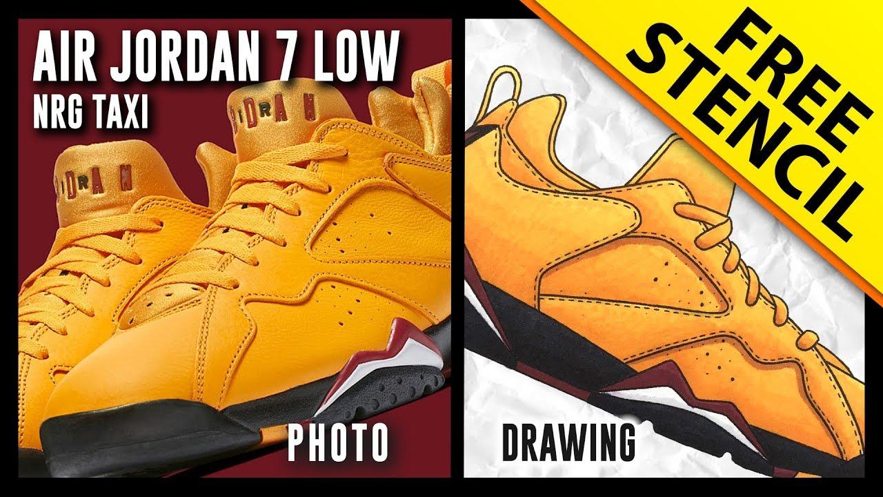 4acd02b40fd461 Air Jordan 7 Low NRG Taxi - Sneaker Drawing w  FREE Stencil - YouTube