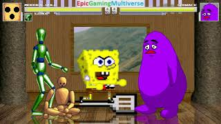SpongeBob SquarePants And Weird Characters VS Grimace In A MUGEN Match / Battle / Fight