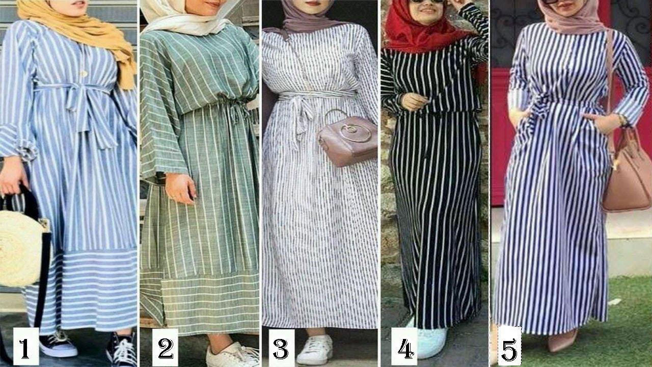 عودة موضة فساتين مخططة مرة أخرى للمحجبات ستايلات جميلة وراقية 2019 Lookbook Hijab Youtube