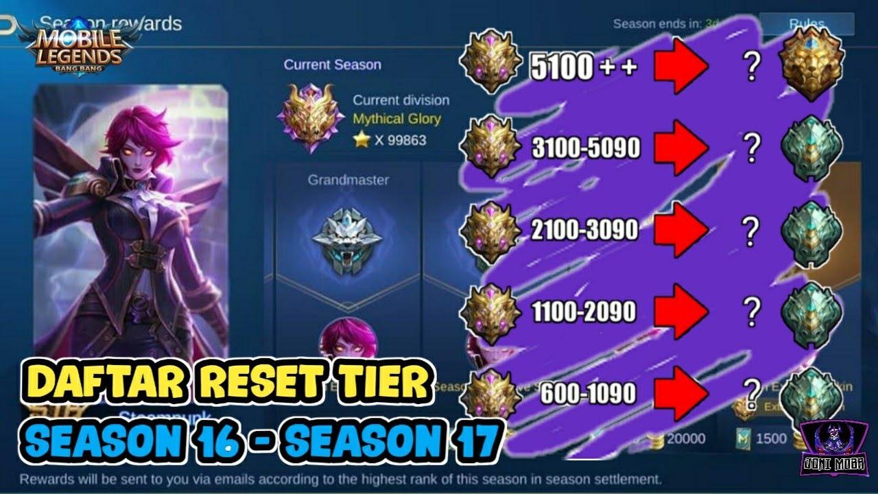 Daftar Reset Tier Season 16 Season 17 Mobile Legends Youtube