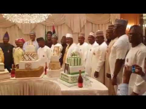 Buhari Cuts 75th Birthday Cakes With Family And Governors (Video)