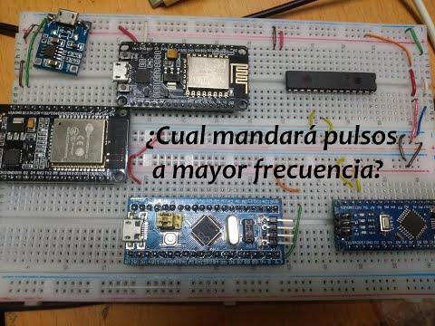 ESP32, Arduino Nano, PIC16F1938, NodeMcu, BluePill ¿Cual mandará el pulso a mayor frecuencia?