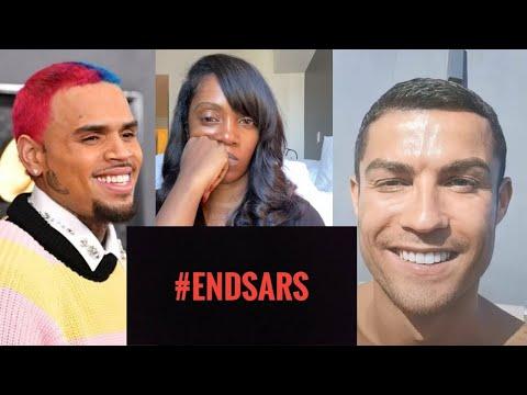 Ronaldo, Chris Brown & Drake Join EndSARs Protest As Tiwa Savage Begs | Wizkid