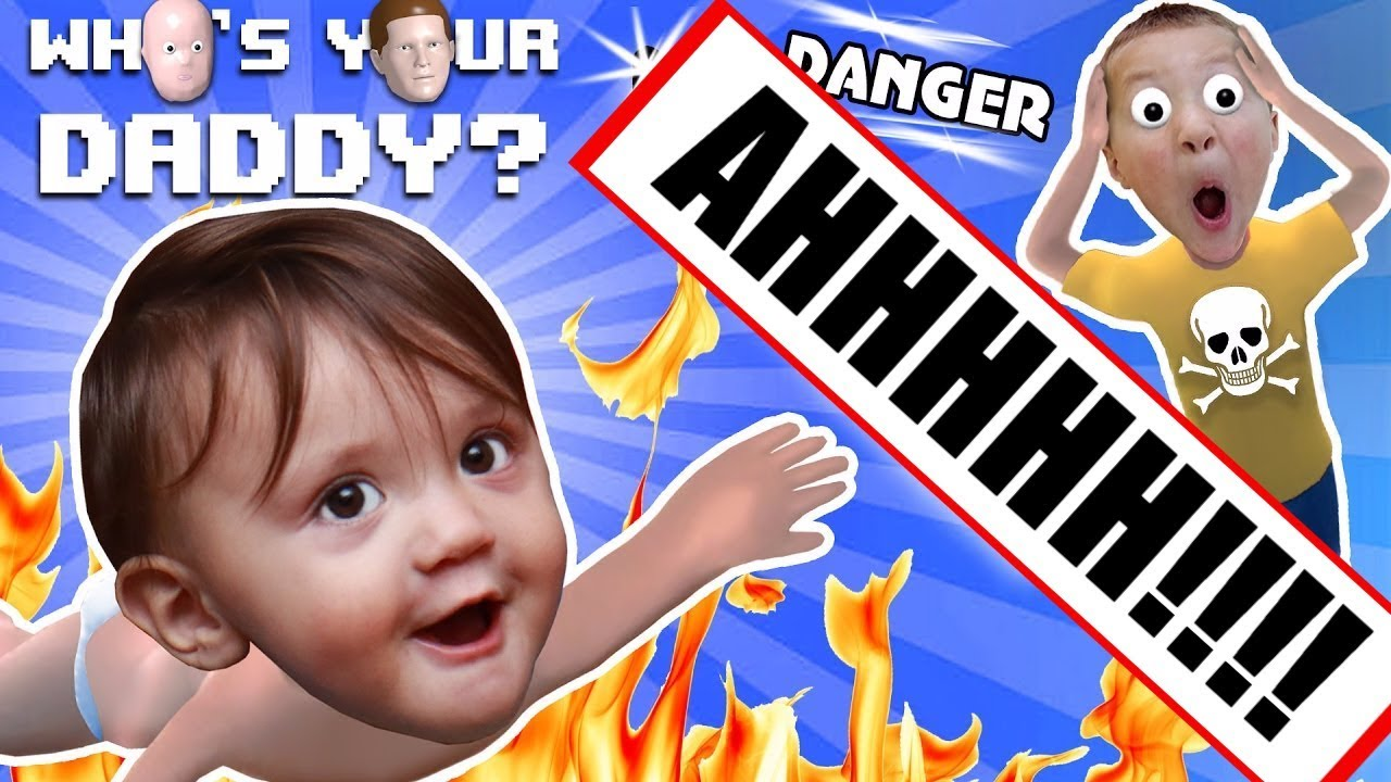 BABY IN DANGER ☠ Whos Your Daddy Skit + Gameplay w Shawn vs Knife, Fire, Glass & More (FGTEEV Fun)
