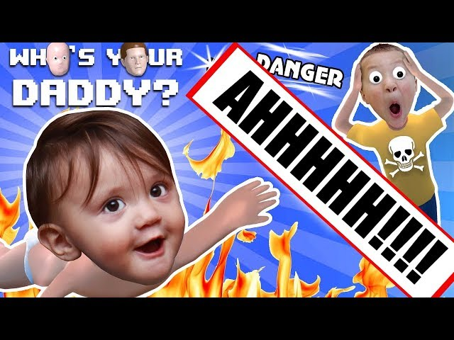 BABY IN DANGER ☠ Whos Your Daddy Skit + Gameplay w/ Shawn vs Knife, Fire, Glass & More (FGTEEV Fun)