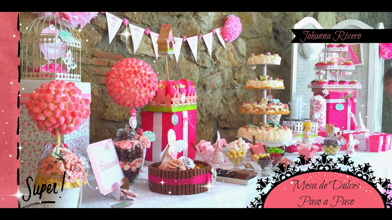 Como decorar mesa de dulces scrapbook topiario para for Decoracion para mesa dulce