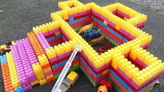 Learn Color With Block Toys Build Wild Animal Zoo Car Toys For Kids Dump Truck,Excavator Car Toys