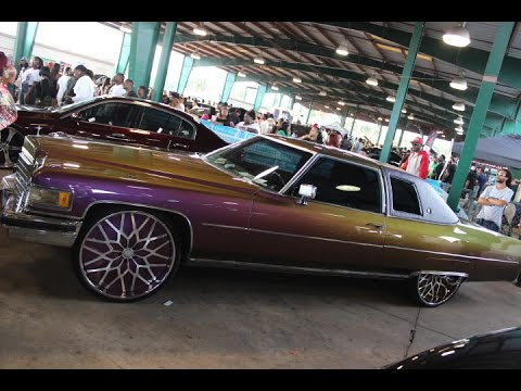 "Outrageous Painted 1975 Cadillac Coupe DeVille Tucking 26"" Forgiato Wheels - YouTube"