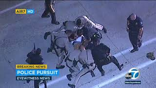 CHASE: Officers swarm suspect, take him into custody after high-speed pursuit through LA