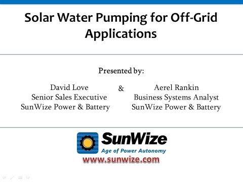 Solar Water Pumping for Off Grid Applications