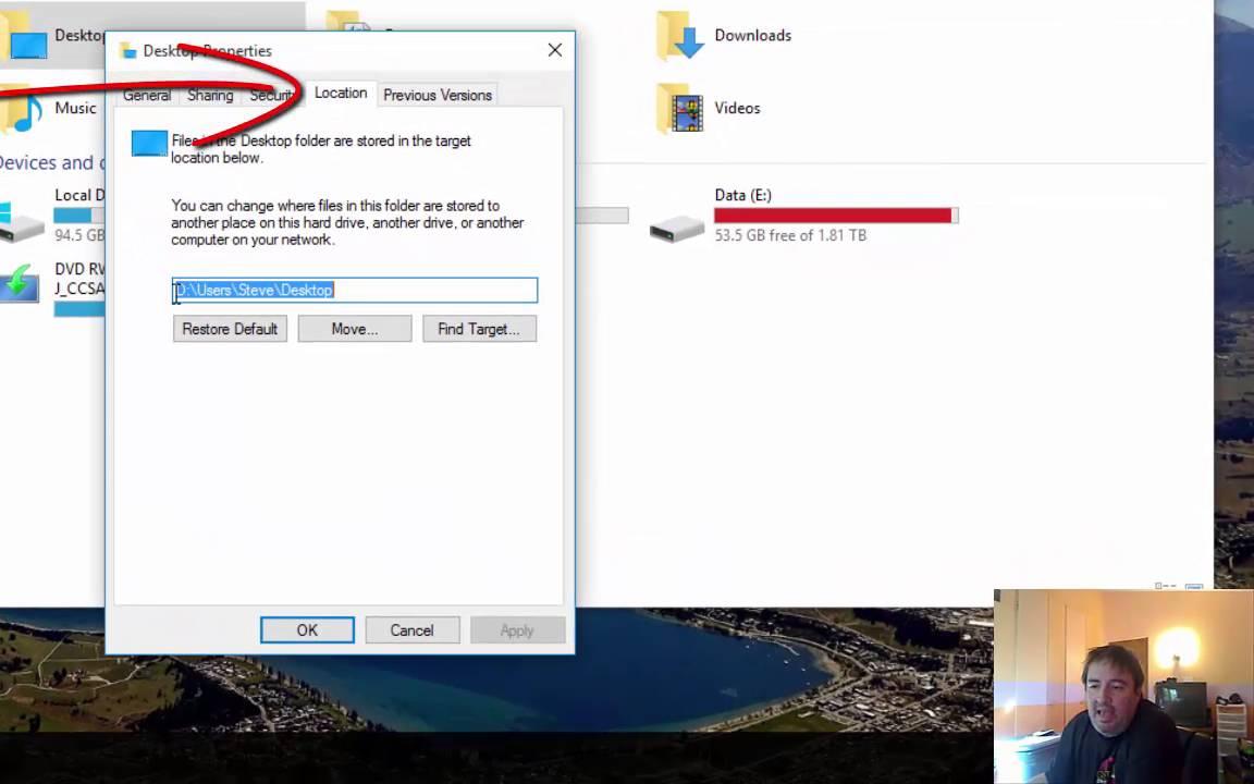 Moving User Profile Folders in Windows 10