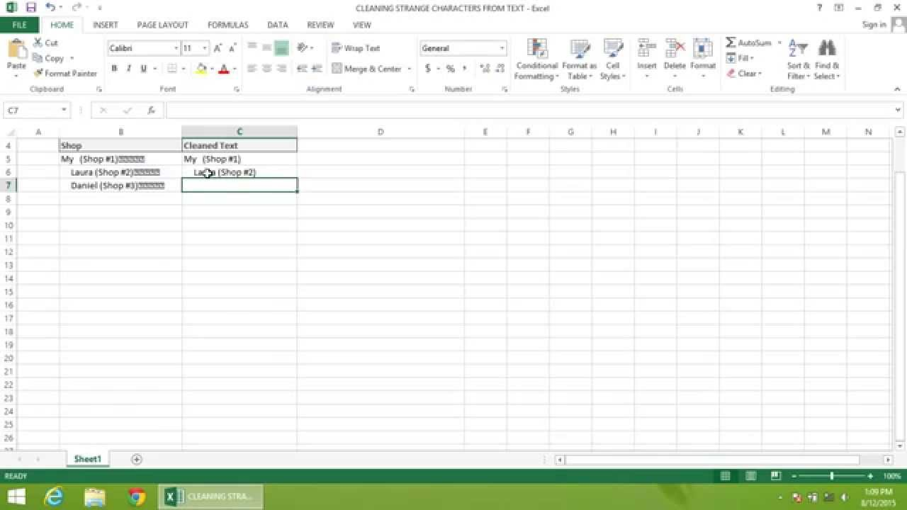 Excel 2013 Tutorial How To Clean Strange Characters From Text