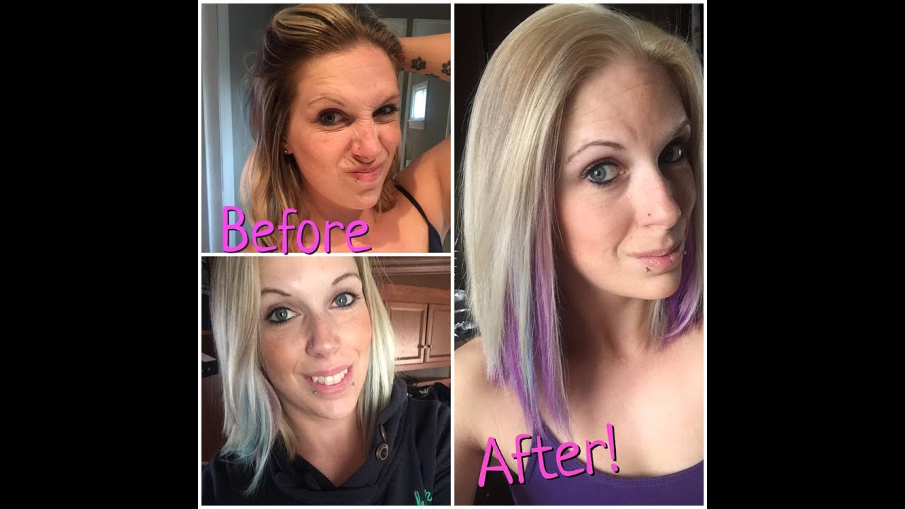 Diy At Home Blonde Purple Hair Youtube