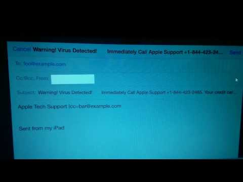 Ipad:  Warning! Virus Detected.  Call Apple Support Spyware.  Close and Clear Cache on Safari