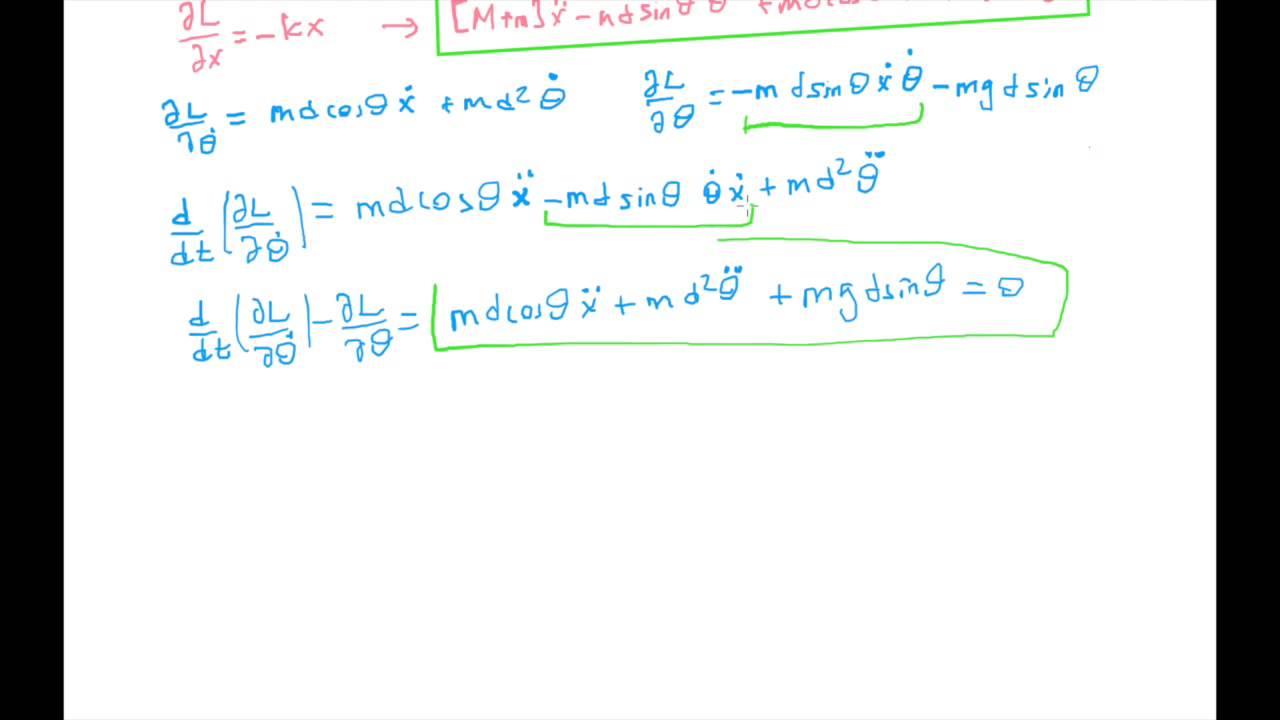 Me341 quiz4 solution euler-lagrange equations youtube.