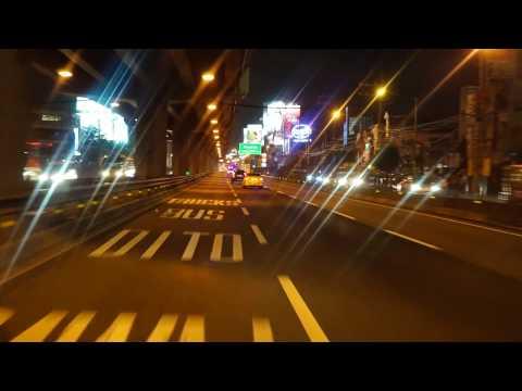 Philippines, driving from StarMall Alabang along Metro Manila Skyway @ night