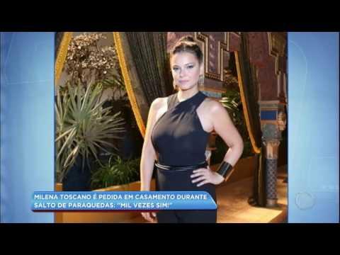 Hora da Venenosa: Milena Toscano é pedida em casamento durante salto de paraquedas