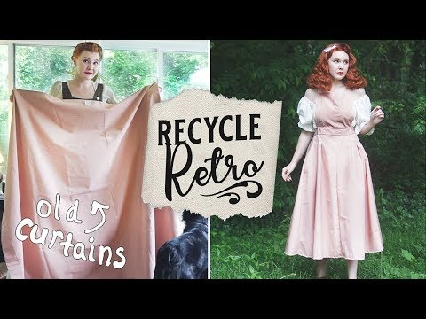 Turning Old Curtains/Tablecloths Into Vintage Styles! || Recycle Retro Ep. 1