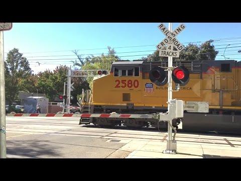 S Street Railroad Crossing, UP 2644 PTC Test Train and Sacramento Light Rail, Sacramento CA