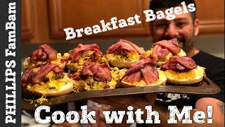 COOK WITH ME | BREAKFAST BAGEL SANDWICH IDEAS | BACON EGG & CHEESE | PHILLIPS FamBam