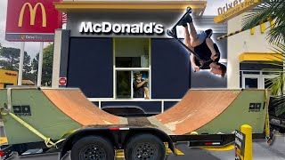 Riding HALF PIPE in McDonald's drive-thru!