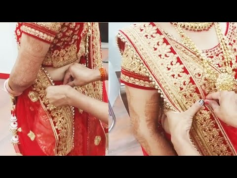 Real bridal different style double Dupatta draping (step-by-step in Hindi)