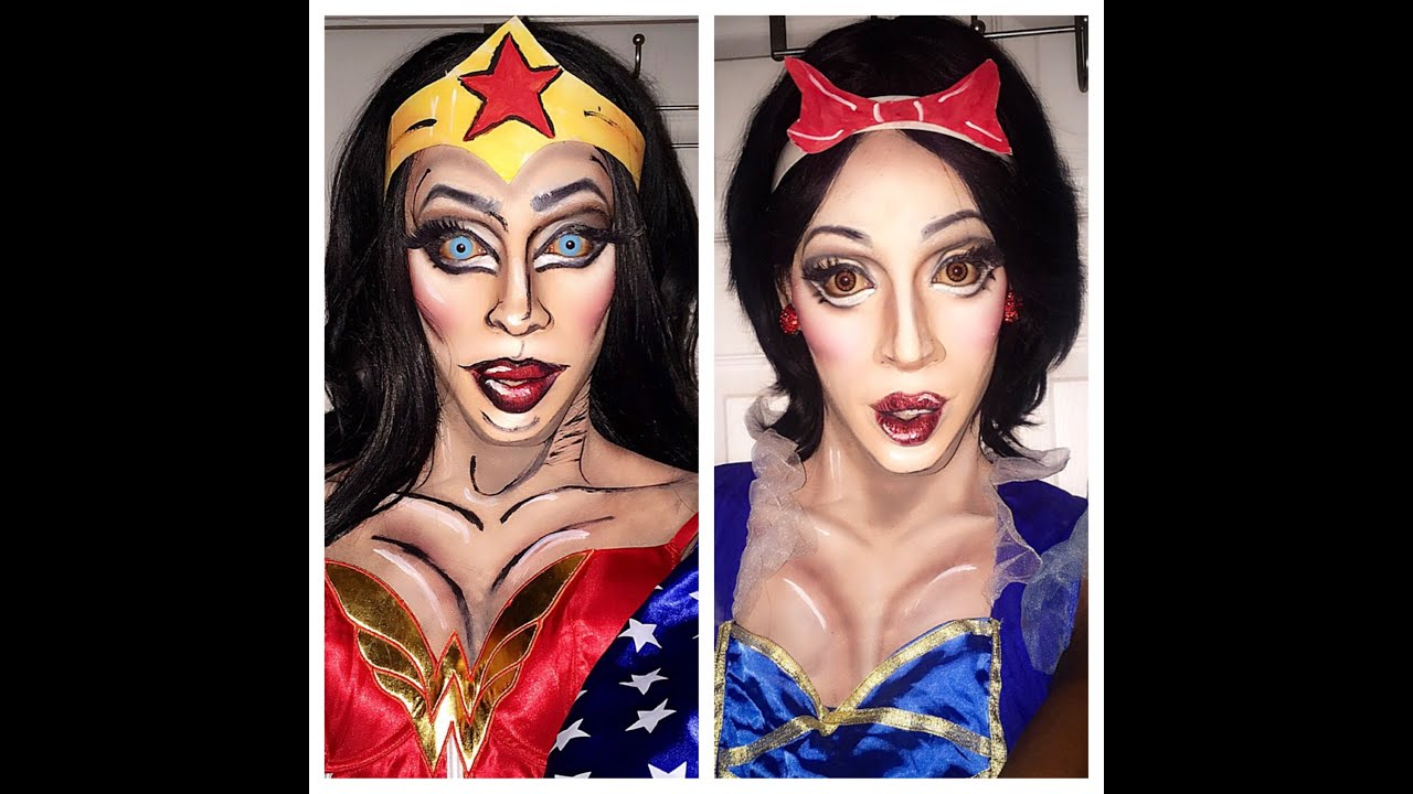 Snow White and Wonder Woman makeup tutorial - YouTube