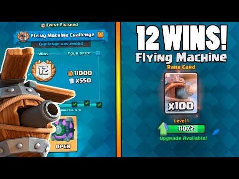 FLYING MACHINE 12 WINS CHALLENGE :: Clash Royale :: NEW CARD & CHEST OPENING!