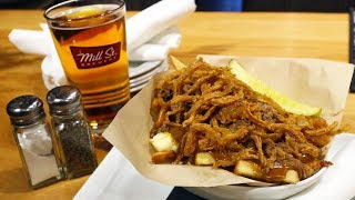 Smoked Brisket Poutine & 100th Meridian Beer at Mill St. Brewpub • Toronto Christmas Market
