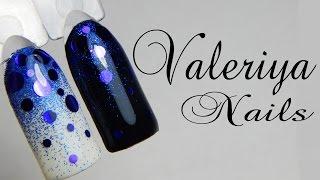 Дизайн ногтей гель-лаком♥ Камифубуки♥ Градиент с блестками♥ Valeriya Nails