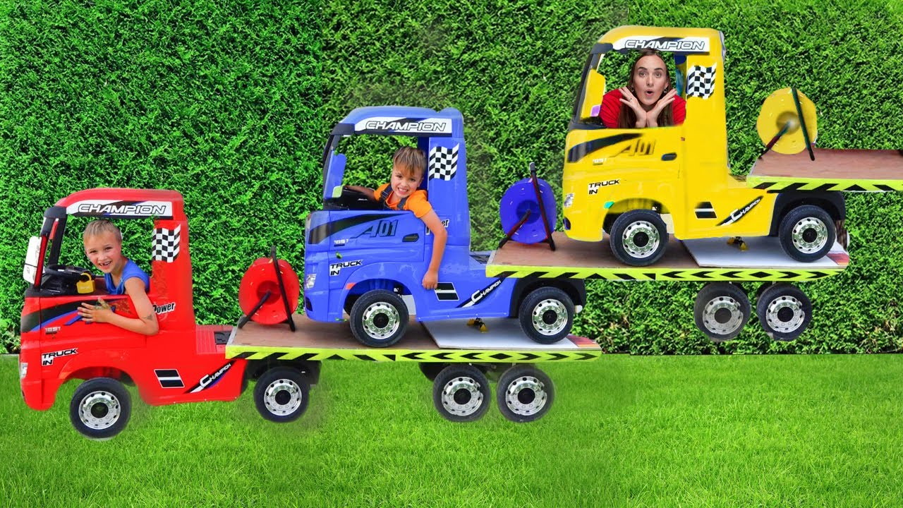 Download Niki ride on tow truck and play selling toy cars for kids