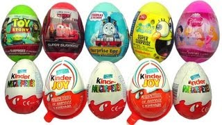 Repeat youtube video 10 Surprise Eggs Kinder Surprise Kinder Joy Disney Pixar Cars 2 Spongebob