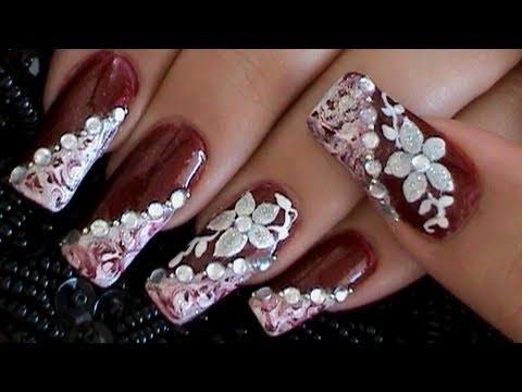 How To Marble Burgundy Amp White Elegant Flower Nail Art