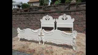 Shabby Chic Vintage Hand Painted Twin Beds