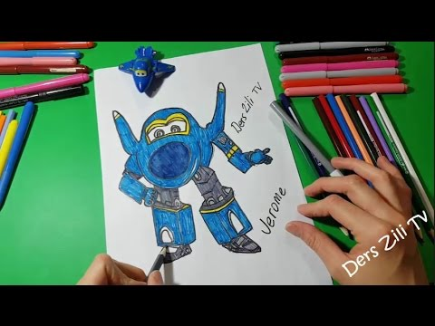 Harika Kanatlar Jerome Çizimi ve Boyaması - SuperWings Jerome Draw and Color  For kids