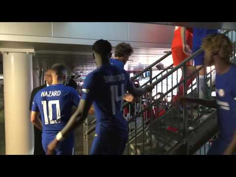 Chelsea players coming up to the stairs to collect FA Cup trophy