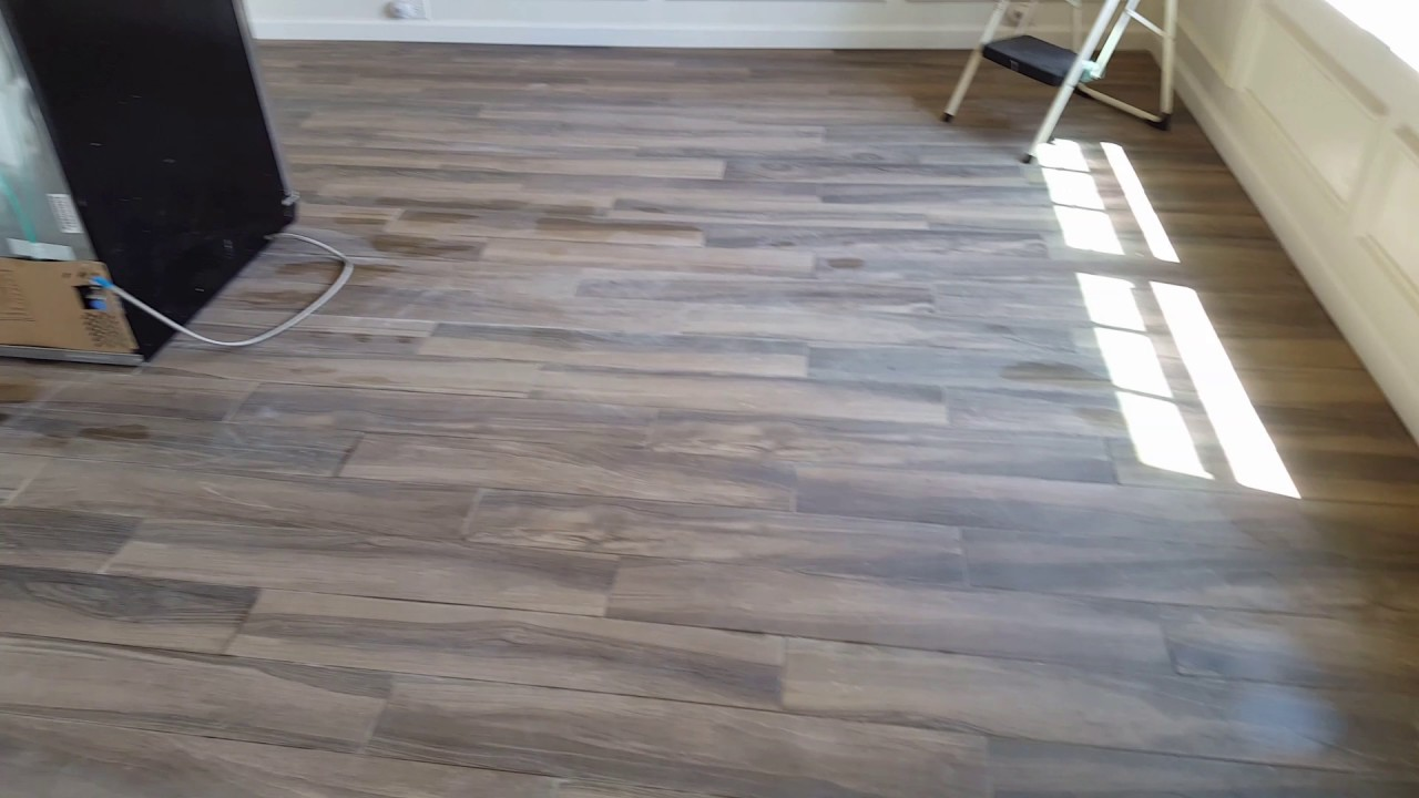 Install Tile Floor Downstairs Porcelain 6x32 Looks Like Wood Youtube