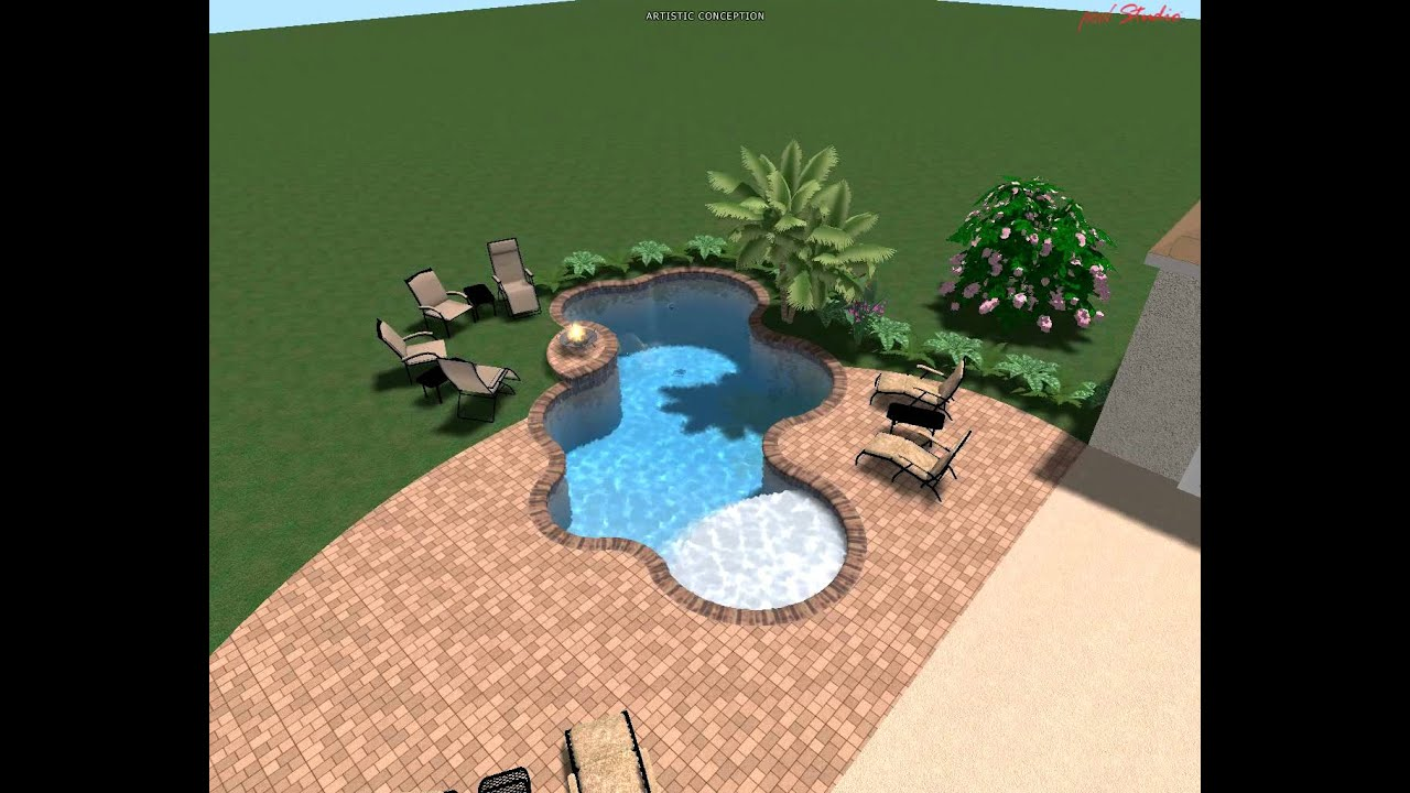 Swimming Pool Freeform Shape With Raised Fire Pedestal And
