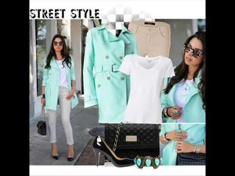 Мятный цвет в одежде -  модный Look