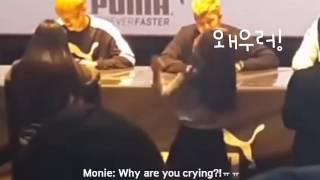 [ENG] 160402 Taehyung and Namjoon meets a crying fans @ Puma Fansign