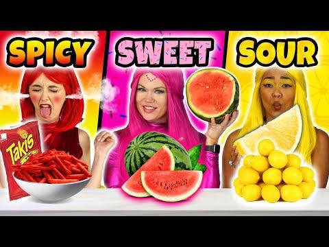 SPICY vs SWEET vs SOUR FOOD CHALLENGE THE SUPER POPS. Totally TV Originals