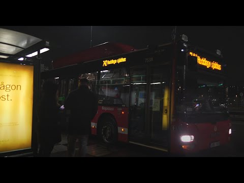 Sweden, Stockholm, bus 742 night ride from Flemingsbergs station to Huddinge sjukhus