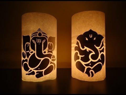 Paper Crafts (Diwali Decoration Ideas) : Candle illuminated Lord Ganesha
